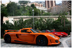 Line up (Vikars') Tags: orange hot car sport canon eos rebel hotel bay spider top 360 super ferrari monaco mc exotic f porsche etc modified mirage carlo monte gt modena 2008 marques rare carrera 430 expansive gemballa xti 400d