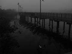 Pre Dawn Fog (nobleup Coming Back Slowly) Tags: blackandwhite reflection fog dawn pier searchthebest florida boardwalk lamps predawn saintluciecounty portsaintlucie platinumphoto rivergatepark goldstaraward damniwishidtakenthat saintlucieriver hairygitselite nobleup
