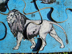 The lion after two months (Eva the Weaver) Tags: wood abandoned gteborg sweden gothenburg chinese link weathered association landfill jigsawpuzzle revisited tenuous farfetched tenuouslinks sacrificed placesrevisited gunnilse tenuouslinl