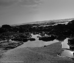 Half-moon bay (kinahanshane) Tags: bw white black beach water sand rocks shane tide pools hdr personalbest kinahan flickrenvy