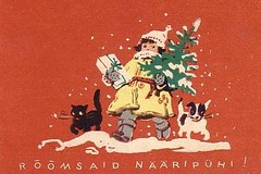 Girl Cat Dog and a Christmas Tree Estonia 1959 (hagerstenguy) Tags: christmas winter red dog snow tree girl cat weihnachten navidad estonia present 50s merry jul wonderland lumi 1959 eesti joulu estland frohe viro viru 50s valge rmsaid nripuhi valgee