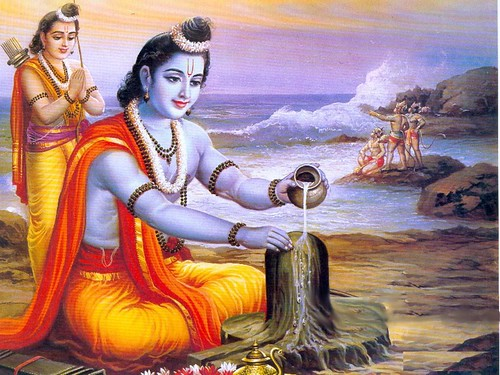 Rama worshiping Supreme Lord Shiva