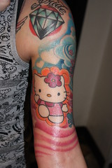 FINISHED! (ladybastard_harajuku) Tags: cute colors girl tattoo hellokitty traditional diamond kawaii sleeve
