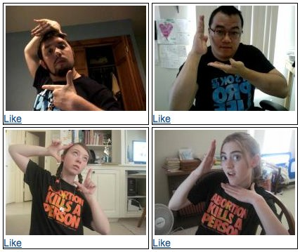 four photos of young people posing with Madonna's vogue hand gestures while wearing pro life t shirts