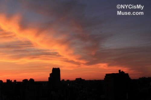 Fiery sunset from Union Square NYC area into New Jersey