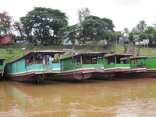 Slow boats on the Mekong in Laos