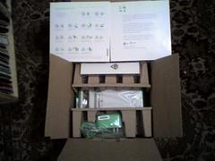XO laptop packaging.  Note the lack of styrofoam.