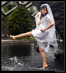 Peace Pool (alton.tw) Tags: park wedding summer people woman white wet water fountain smile stone female contrast square island bride spring memorial asia peace veil dress formal taiwan marriage landmark squareformat barefoot taipei ripples wade gown formosa