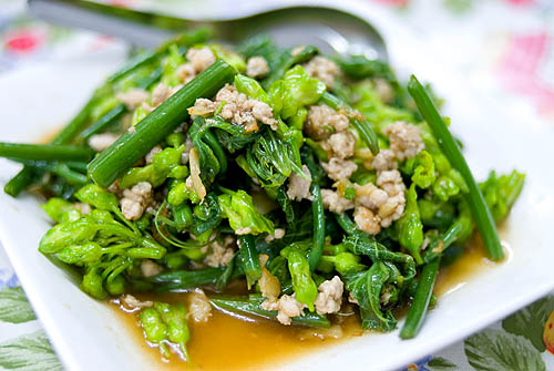 A stir-fry of gourd greens and a local flower, Krua Apsorn, Bangkok