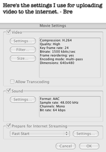 Quicktime Export Settings