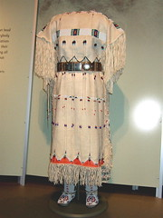 NMAI_Woman's Buckskin Dress (Beautiful Fringe) (catface3) Tags: red white yellow washingtondc smithsonian dc dress stripes fringe nativeamerican nmai buckskin beadwork moccasins deerskin plainsindians nationalmuseumofamericanindian catface3