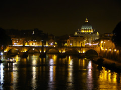 Rome - View to St Peters at night 01 (timinbrisneyland) Tags: bridge italy vatican stpeters rome night reflections river lights europe postcard tiber