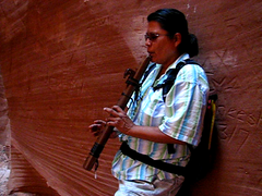 Navajo guide playing flute in Cathedral Canyon, Arizona, USA, Navajo Indian Reservation (Boonlong1) Tags: arizona music usa southwest america desert indian flute canyon nativeamerican navajo slotcanyon southwestusa