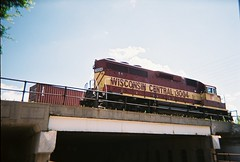 Former Wisconsin Central EMD roadswitcher above West Lawrence Avenue. Schiller Park Illinois. July 2008.