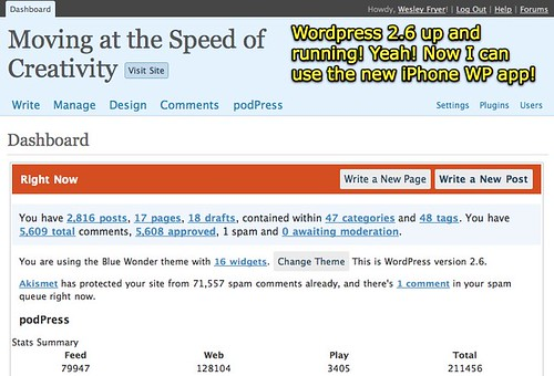 Wordpress 2.6 up and running!