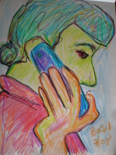 Basil on the phone