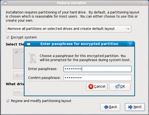 Fig 12. Encrypting the system during installation