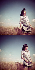 Summer Wind (Sachie Nagasawa - somewhair) Tags: summer sky selfportrait nature field self square corn nikon autoportrait wind duo wideangle tokina selfpotrait 1224mm sachie dyptique nagasawa 30fav d80 somewhair hantenshi