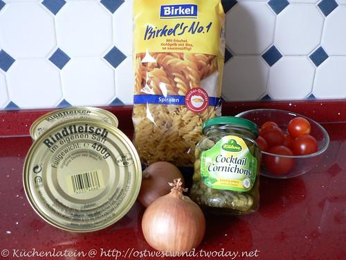 Zutaten Nudeln mit Rindfleisch aus der Dose