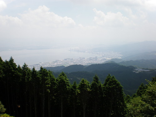 View of Otsu and Lake Biwa from Mt. Hiei, Kyoto, Japan