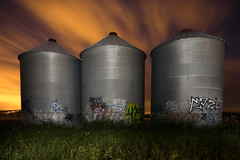 Urban silos (LukeOlsen) Tags: nightphotography usa abandoned night oregon graffiti three nocturnal beaverton silo silos triple hillsboro nocturne strobist 580exii lukeolsen pdxstrobist