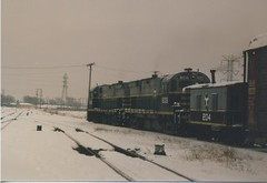 Eastbound Belt Railway of Chicago transfer train leaving Clearing Yard. Photographed at Hayford Junction. Chicago Illinois. January 1987.