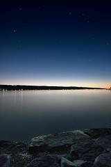 Cayuga Twilight ([Adam Baker]) Tags: longexposure blue sunset summer sky lake newyork reflection nature water night canon stars landscape twilight tokina ithaca cayuga hdr cubism photomatix adambaker 40d multimegashot damniwishidtakenthat tokina1116 1116f28