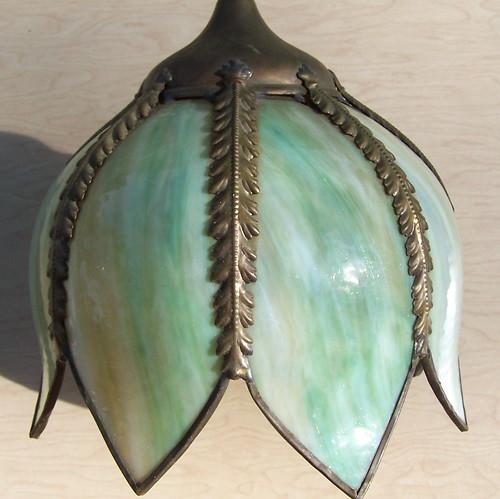 Vintage Green Glass Light Fixture: Tulip Hanging Light Fixture