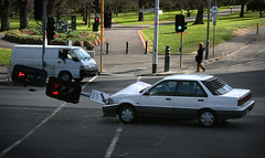 car v pole (~wibo~) Tags: car lights traffic crash accident australia melbourne victoria pole bent bystanders