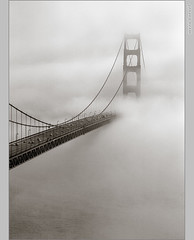 Everyone has a Golden Gate photo ... and here is one more (Mez, Kornl (mostly away)) Tags: ocean sanfrancisco california ca bridge sea white mist black tower cars film water fog clouds grey bay interesting waves suspension pentax invisible steel surreal negative cables covered goldengate handheld lamps pageone visibility disappearing pz1p topofthefog superaplus aplusphoto theunforgettablepictures