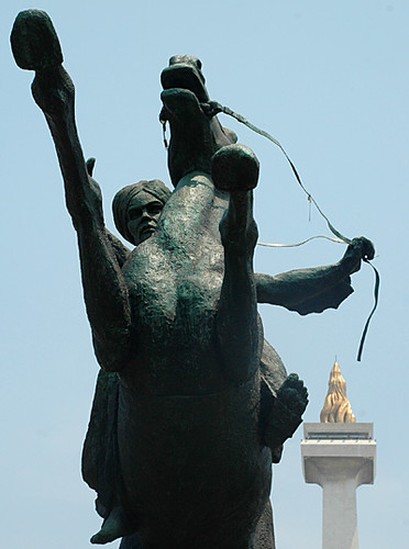 The Prince Diponegoro Statue and Monas in Jakarta
