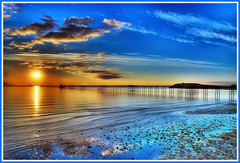 sunrise at Ramsey pier - Isle of Man. (IMAGES FROM MAN.) Tags: blue sunset sea summer sky sunlight colour water beautiful yellow clouds wow reflections coast reflexions isleofman manx wwh colorphotoaward thebestyellow grouptripod