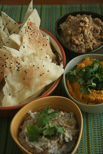 Lavash Crackers w/ Three Middle Eastern Dips