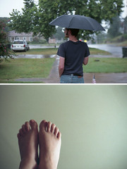 (rachelakelso) Tags: boy selfportrait green girl rain umbrella 35mm diptych mister shaun