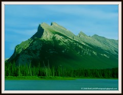Mount Rundle (westrock-bob) Tags: park autumn copyright mountain lake canada tree green fall fun photography aqua rocky bob ab september mount explore evergreen national alberta jagged banff 2008 excite exciting allrightsreserved westrock vermillion rundle kanada stately kanata cuthill westrockbob bobcuthillphotographygmailcom