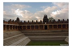 Nandeeshwara Temple (Nagaraj B R) Tags: blue sky nature clouds canon temple evening pond 1855 kalyani nandihills 450d