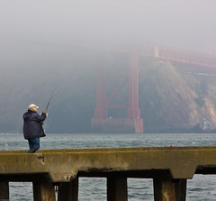 Fishing in the mist (gerardov) Tags: sanfrancisco ca bridge sea nature water ecology weather fog pier fishing fisherman scenery unitedstatesofamerica transport engineering science goldengatebridge transportation environment recreation environmentalism sciences ecosystem outdoorrecreation sportsrecreation