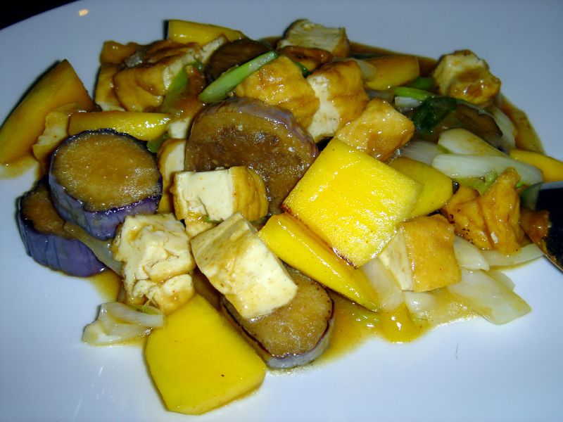 Spicy Mango Tofu with Chinese Eggplant