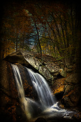 Trap Falls (Patrick Campagnone) Tags: autumn fall texture water forest photoshop river landscape waterfall woods october rocks stream digitalart boulders brook flowing tamron hdr photoshopart tonemapped 3exp trapfalls ashbyma proudshopper