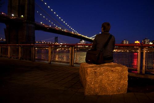 looking at the Brooklyn Bridge
