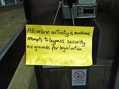 All online activity is monitored (Leo Reynolds) Tags: iso100 sticker postit note f30 finepix fujifilm 8mm f4 0ev 0004sec hpexif xleol30x xratio4x3x xxx2008xxx