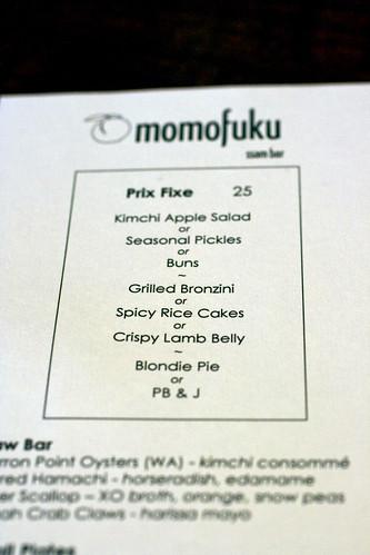 Momofuku Ssam Prix Fixe Menu