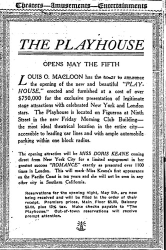 The Playhouse Opening Ad