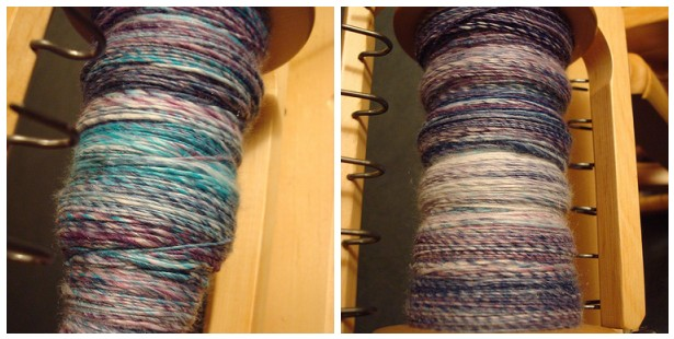 Color changes in the hand dyed fiber