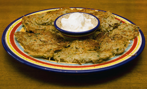 Potato Pancakes (Latkas) Served