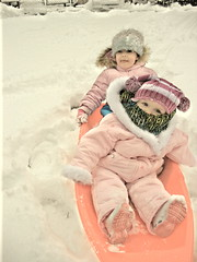 sledding (mooshoo {littlepapoose}) Tags: snow scarf children outdoors midwest play boots hats sled snowsuit toboggan