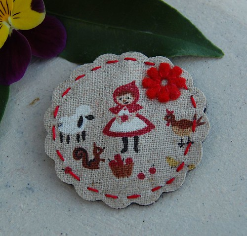 little red felt and fabric clip