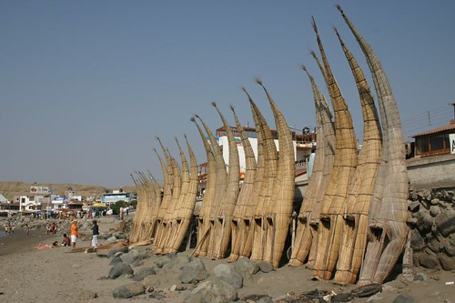 """Caballitos"" reed boats in Huanchaco, northern Peru."