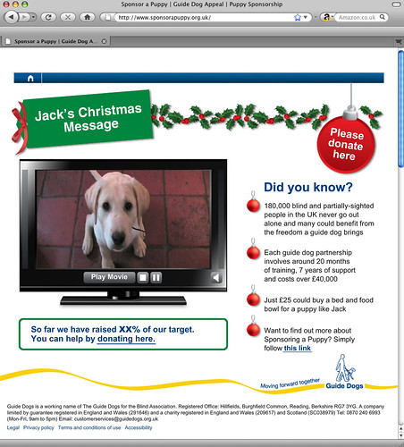 Guide Dogs for the Blind Association's Christmas 2008 appeal landing page
