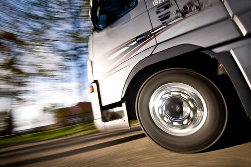 Motion blur with truck wheels
